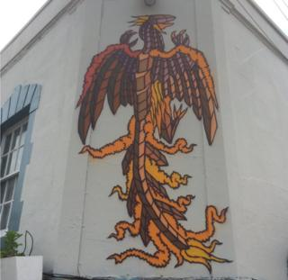 One of the new designs on the Oxford pub in Totterdown painted by Andy Council
