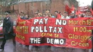 Poll tax protest in Glasgow