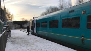 Pontyclun rail station in snow