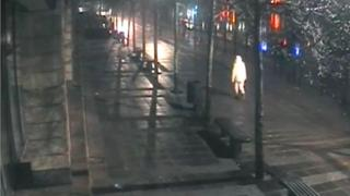 CCTV image showing Sally Allan walking along Newcastle Quayside near the Copthorne Hotel on Boxing Day