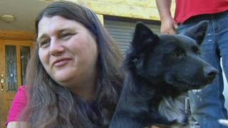 The grandmother of missing toddler Sophie with Poppy the dog.