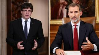 Carles Puigdemont (trái) chỉ trích diễn văn của nhà vua Tây Ban Nha Felipe VI