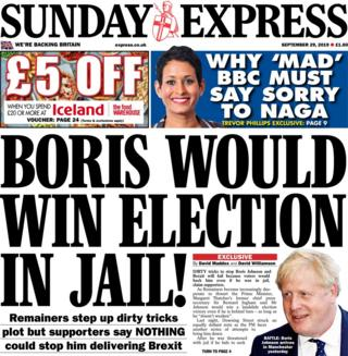 The Sunday Express's front page September 29