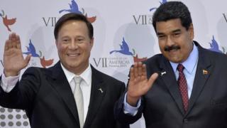 El presidente panameño Juan Carlos Varela y su par venezolano, Nicolás Maduro.