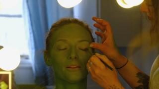 Actress Willemijn Verkaik is made up as Elphaba