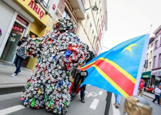 People gather to participate in celebrations marking the 60th anniversary of Congo