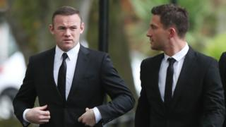 Wayne Rooney arriving at the funeral service for Freddy Shepherd