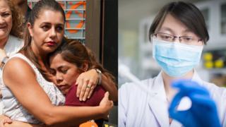 A la izquierda, Yeni Marciela Gonzalez Garcia, una madre guatemalteca que logró reunirse con sus tres hijos el 3 de julio de 2018 en Nueva York. A la derecha, una enfermera realizando una prueba de ADN.