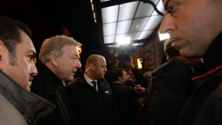 Cardinal Pell arrives at the Quirinale Hotel in Rome to give evidence to the Royal Commission