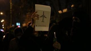 İran'da düzenlenen bir protesto gösterisi