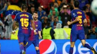 Messi yinjije igitsindo ci 100, igihe Barcelone itsinze Olympiakos