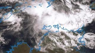 A satellite image showing the weather system off northern Australia