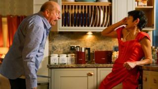 Geoff (Ian Bartholomew) shouts at Yasmeen (Shelley King)