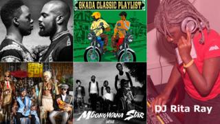 Right: DJ Rita Ray; Top left: Tchobari album cover; Top middle: The Okada Afrobeat Playlist Vol 1 album cover; Bottom right: Sauti Sol album cover; Bottom middle: Mbongwana Star album cover