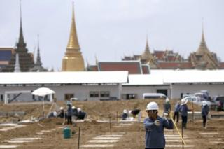 Preparation work for funeral of late Thai king