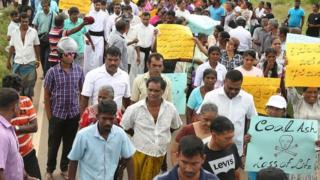 Protest in Sri Lanka against a Chinese development