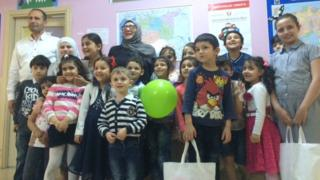 Shaza Barakat and some of the pupils at her school in Istanbul