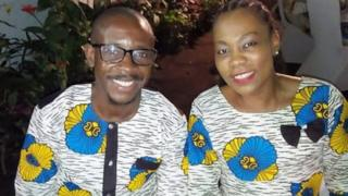 Jean-Felix Mwema Ngandu and Arlene Agneroh sit side by side in matching outfits in this photo taken by a mutual friend who uploaded it to Facebook.