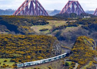 Caledonian sleeper after crossing the Forth Bridge