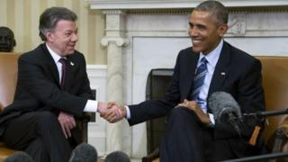 President Juan Manuel Santos and President Obama at the White House