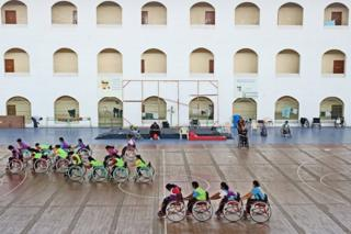 Wheelchair basketball players practise for the Para Games
