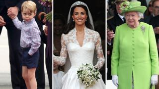 El príncipe George, la duquesa de Cambridge y la reina Isabel.