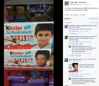 Screengrab of Pegida page on Facebook showing 180 comments under a complaint, with photos of two Kinder chocolate bars featuring faces of a Turkish child and a black child.