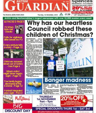 Front page of the Antrim Guardian