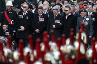 Veterans attend the remembrance service at the Cenotaph memorial in Whitehall