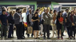 Passengers waiting for train