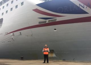John Garner in front of the Oriana