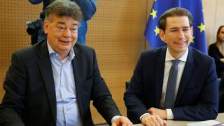 science Werner Kogler, left, at a cabinet meeting with Sebastian Kurz in January