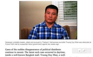 """Bình luận """"Horror of the disappeared"""" trên tờ Bangkok Post ngày 11/2"""
