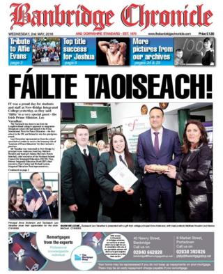Front page of the Banbridge Chronicle