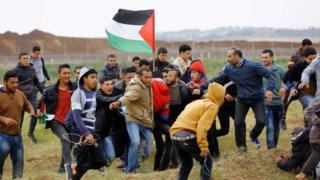 Palestinian protesters at Jabaliya, Gaza