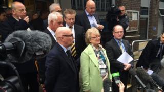 Julie Hambleton outside the hearing
