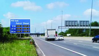 Artist impression of M5 fuel signs