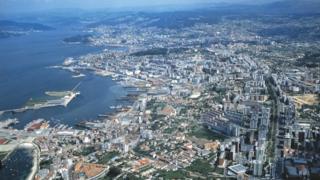 An aerial view of Vigo - Galicia, Spain