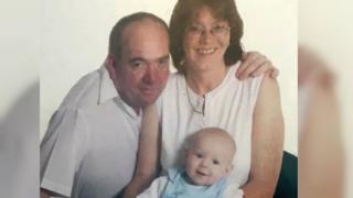 Yvonne pictured with her late husband and her son.