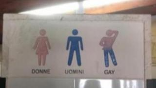 Photo of the signage. A pink symbol for a woman, a blue symbol for a man, and a pink and blue symbol with one hand behind the head and one hand on hip
