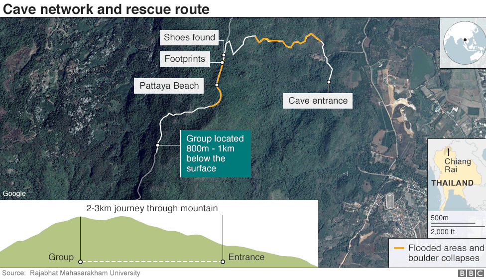 Map showing cave network and rescue route