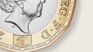 detail of new 1 coin