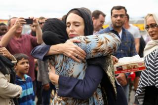 New Zealand Prime Minister Jacinda Ardern hugs a mosque-goer at the Kilbirnie Mosque in Wellington, following the mass shooting attacks on two mosques in Christchurch in 15 March 2019.