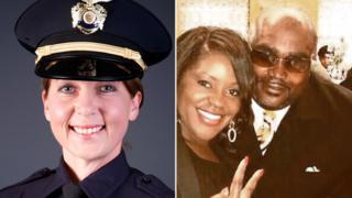 La oficial Betty Shelby a la izquierda y Terrence Crutcher a la derecha con su hermana.