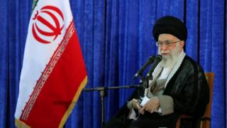 Iran's Supreme Leader Ayatollah Ali Khamenei during a speech on June 3