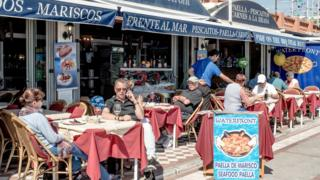 Expats and tourists at restaurant in Benalmadena, Spain, 17 Mar 16