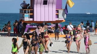 пляж во Флориде, март 2020