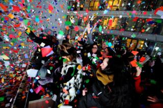 Revellers in Times Square