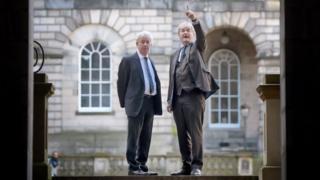 Prof Sir Timothy O'Shea (L) and EIB Vice President Jonathan Taylor