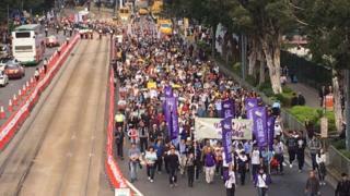 香港民阵游行队伍从铜锣湾维多利亚公园出发(1/1/2017)